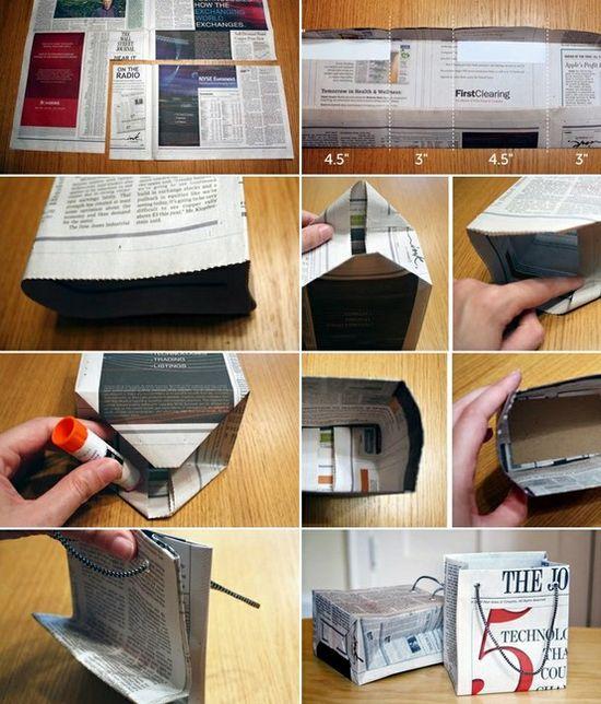 Как сделать пакет для мусорного ведра и сумочку из газет.  Мастер-класс.