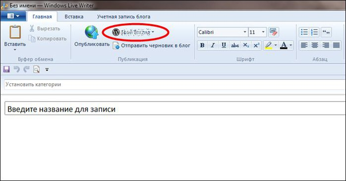Учетные записи. Редактор блогов Windows Live