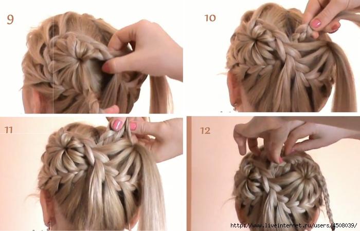Прическа цветок из косичек видео - Косы и косички, плетение из волос кос и косичек