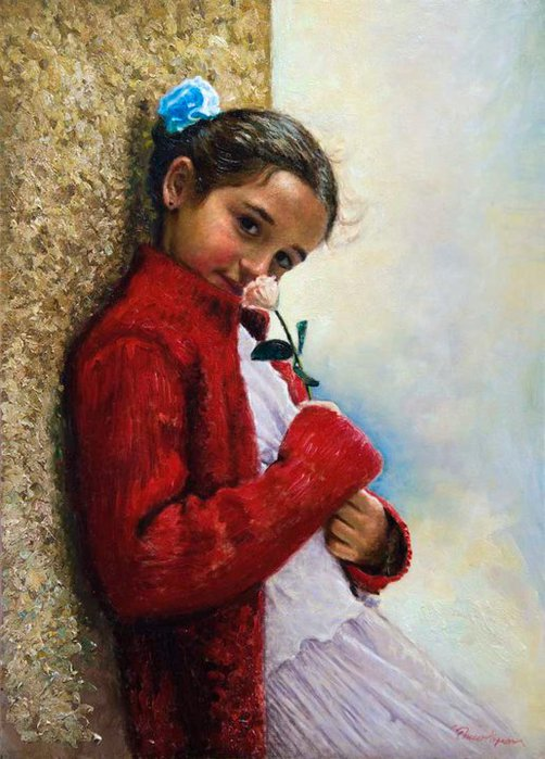 Children in art - Odysseas Oikonomou [Οδυσσέας Οικονόμου] 1967 - Albanian-Born Greek Figurative painter (17) (502x700, 78Kb)