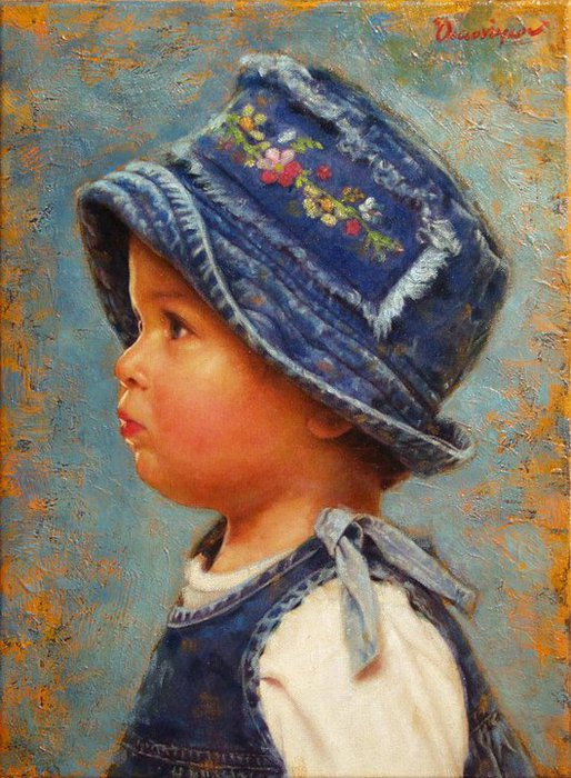 Children in art - Odysseas Oikonomou [Οδυσσέας Οικονόμου] 1967 - Albanian-Born Greek Figurative painter (2) (514x700, 103Kb)