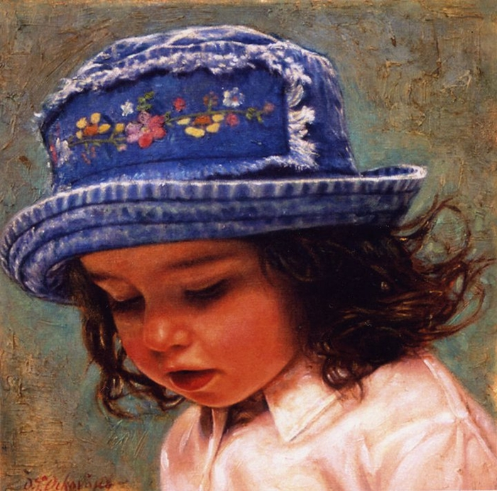 Children in art - Odysseas Oikonomou [Οδυσσέας Οικονόμου] 1967 - Albanian-Born Greek Figurative painter (36) (700x692, 368Kb)