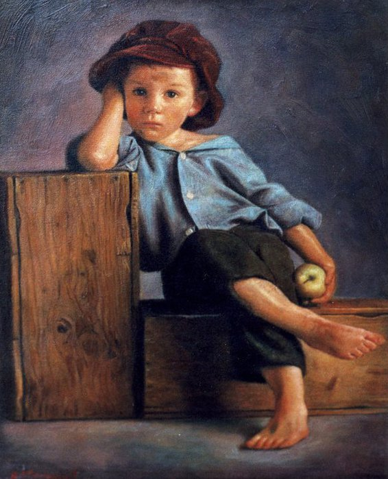 Children in art - Odysseas Oikonomou [Οδυσσέας Οικονόμου] 1967 - Albanian-Born Greek Figurative painter (43) (566x700, 84Kb)