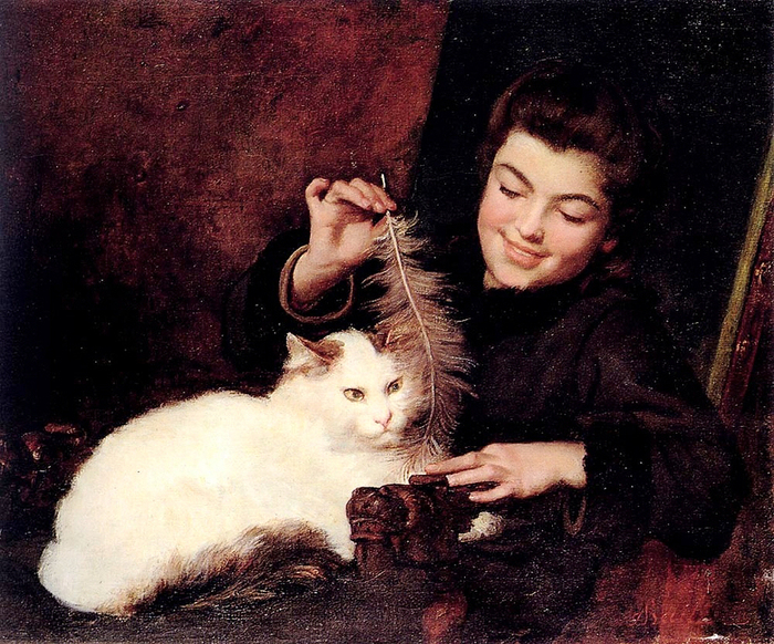 Young_girl_with_a_white_cat__Antoine_Jean_Bail (700x582, 458Kb)