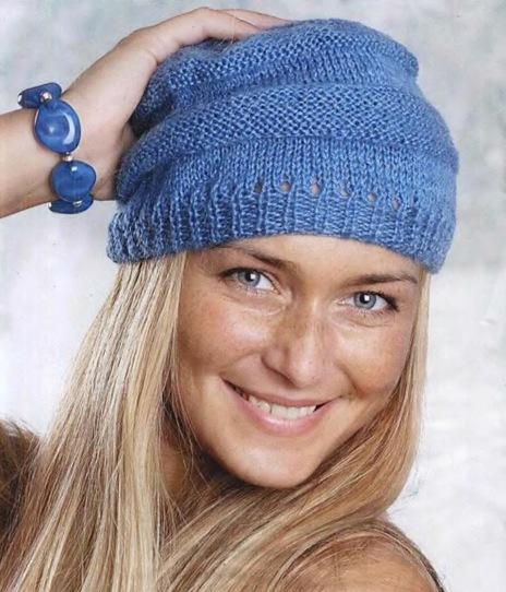 Вязаные шапки спицами 7