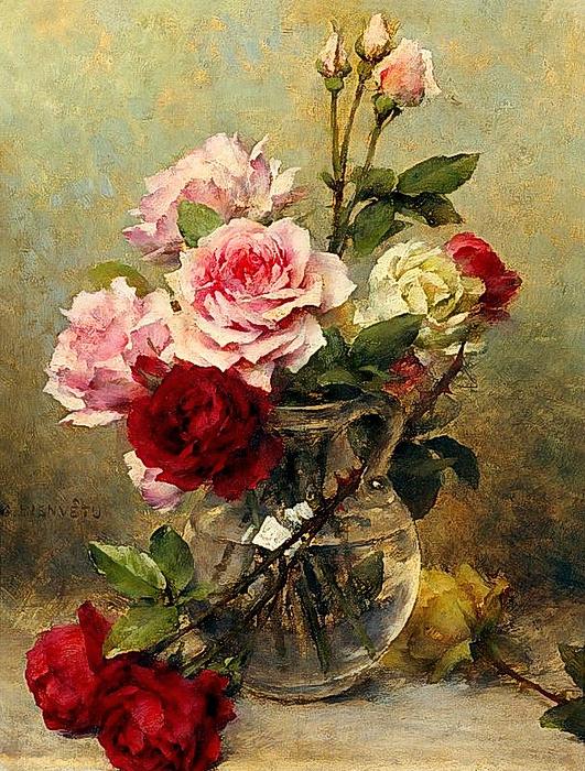 Gustave Bienvetu - Eine Vase mit Rosen (531x700, 528Kb)