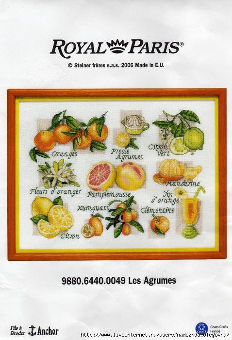 Панно для кухни (фрукты) Вышивка крестом схемы.