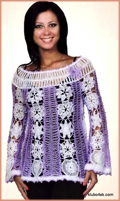 Ажурная блуза, связанная на вилке