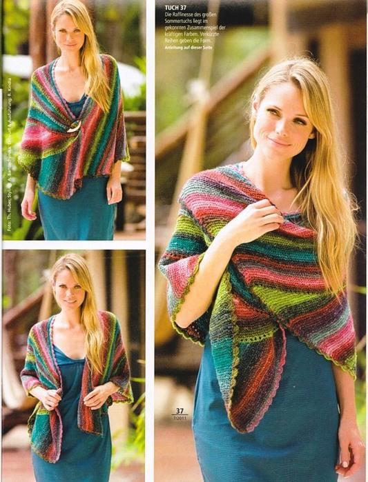 вязание на спицах. шаль спицами. вязание для женщин.