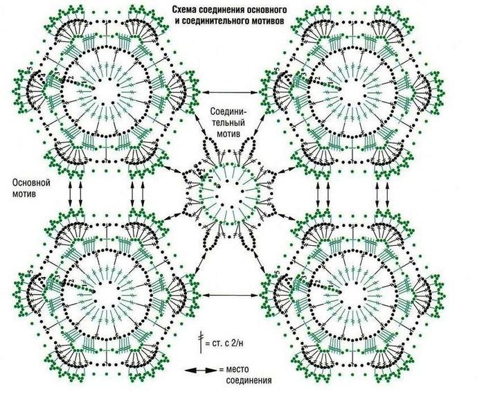 Схемы для вязания крючком мотивов цветов 652