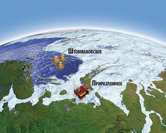 В... Рис. 5. Штокмановское газовое и Приразломное нефтяное месторождения на карте.