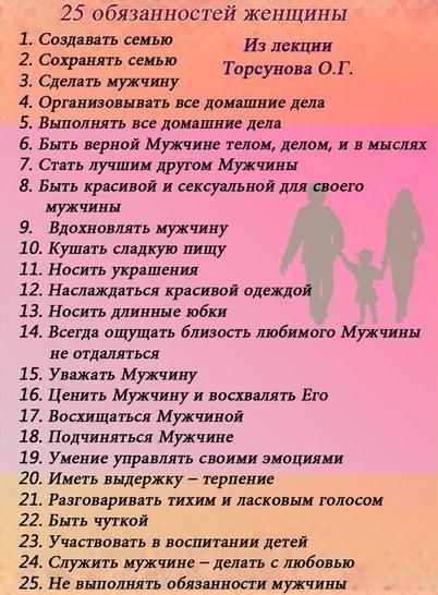 25 обязанностей женщин