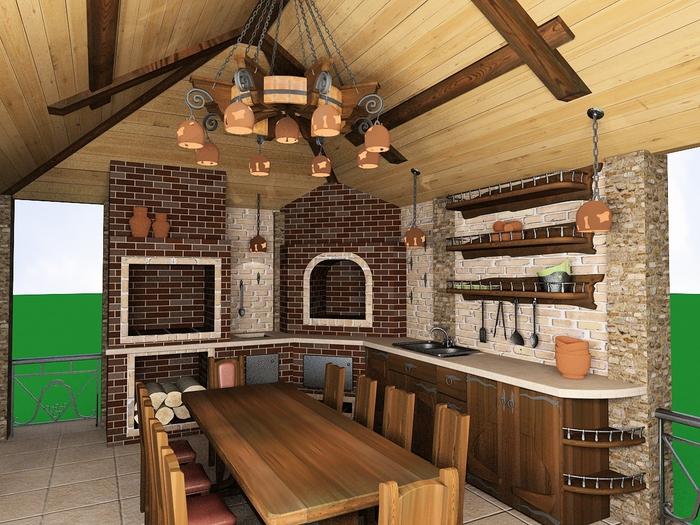 Дизайн летней кухни для дачи