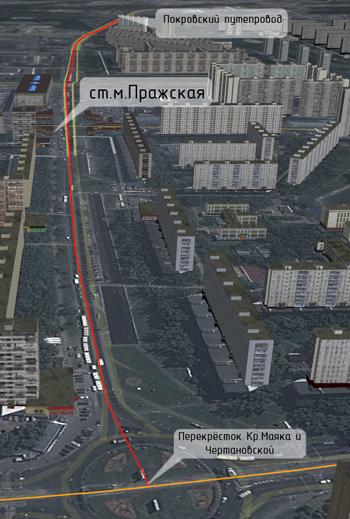 Предполагаемая линия СТ по ул.Красного Маяка и ул.Подольских Курсантов