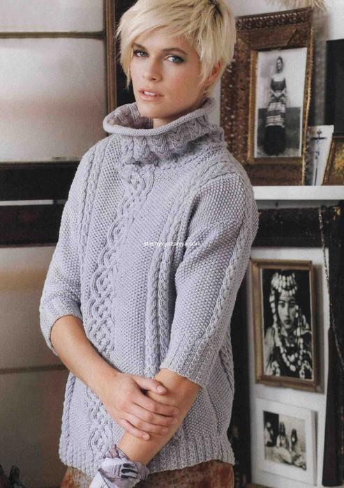 Широкий свитер спицами 7