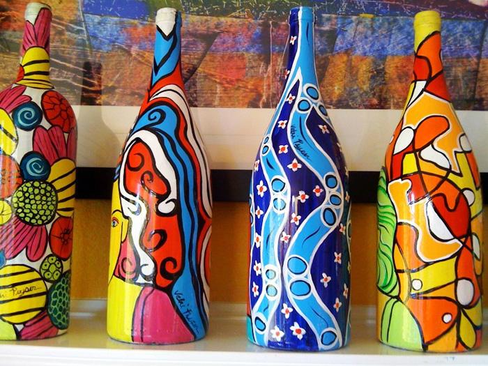 Бутылка декор акриловой краской