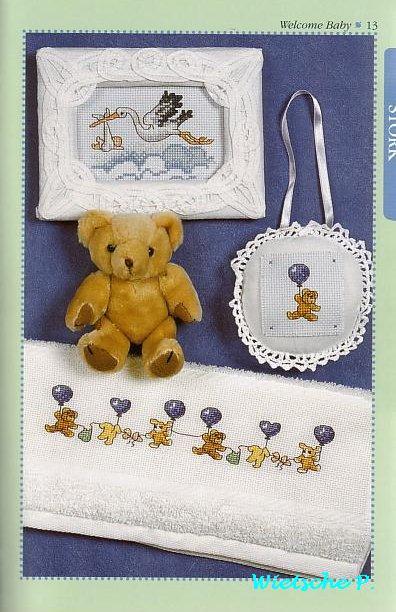 Аист с новорожденным - цветная схема вышивки крестом.