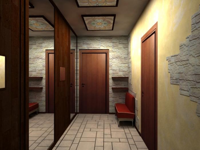 Для отделки стен в прихожей используйте фактурные обои.  Обои для прихожей выбирайте однотонные или в мелкий рисунок...