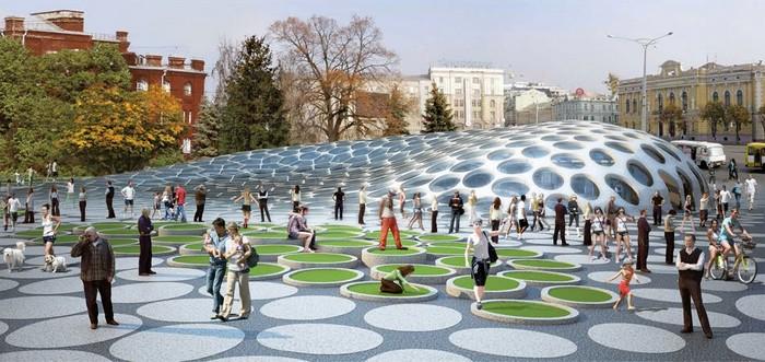 Современная архитектура Харькова - проект площади Конституции 2 (700x331, 97Kb)