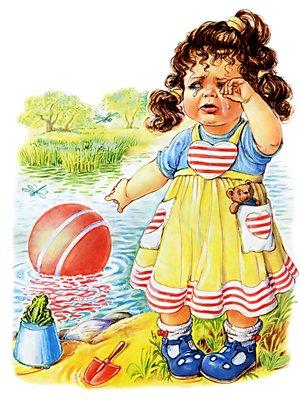 Наша Таня громко плачет. Уронила в речку мячик (300x400, 44Kb)