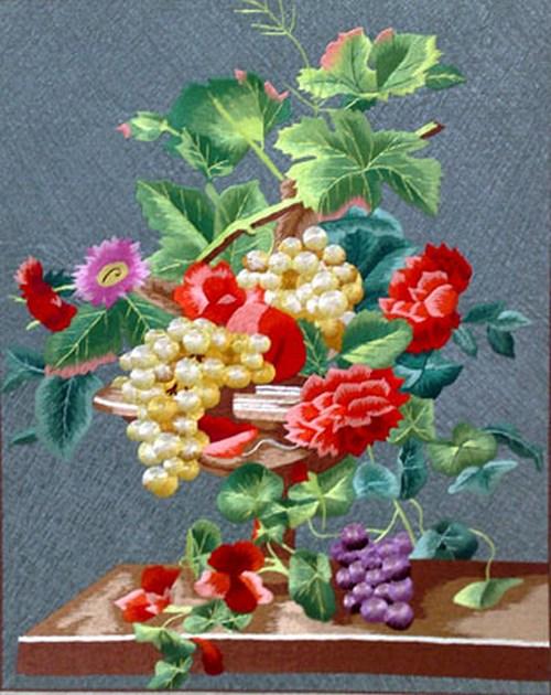 Вышивка шелком по шелку одним цветом