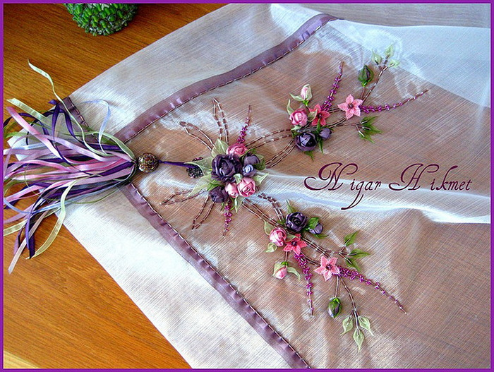 Орнамент вышивки лентами