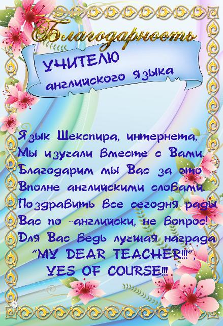 Учитель физкультуры поздравление от родителей