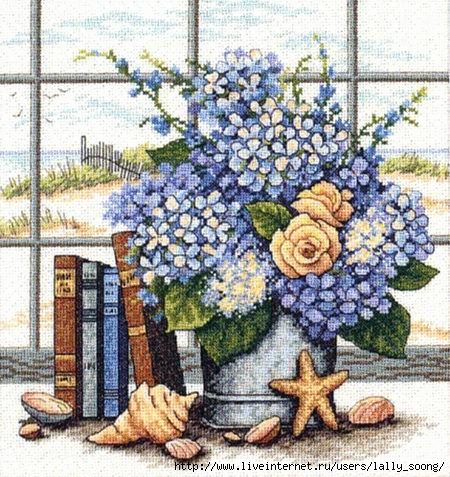 Dimensions_35166_Hydrangeas_and_Shells (450x477, 196Kb)