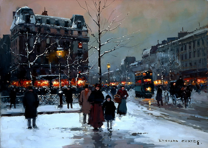 edouard_leon_cortes_a3759_place_pigalle_winter_evening (700x498, 453Kb) .