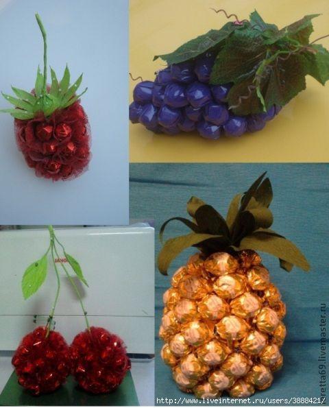 Как сделать из конфет фрукты своими руками  946