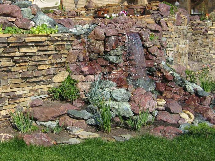 каменный водопад украшения стены