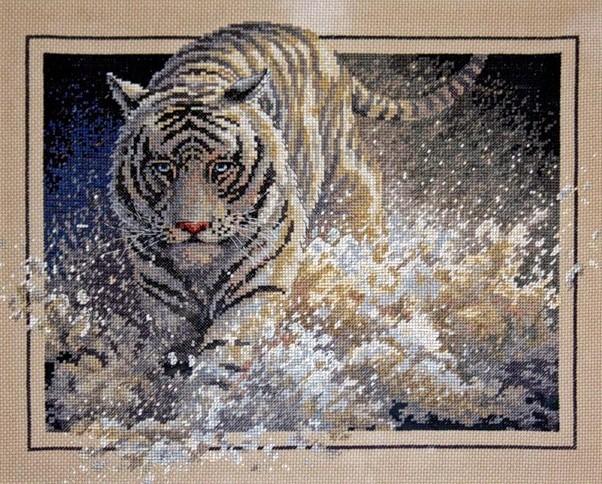 вышивка белый тигр схема