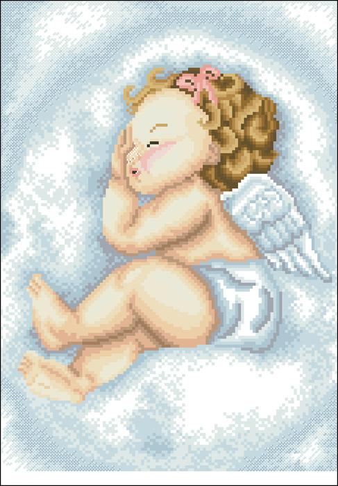 Ангелок на облаке цветная