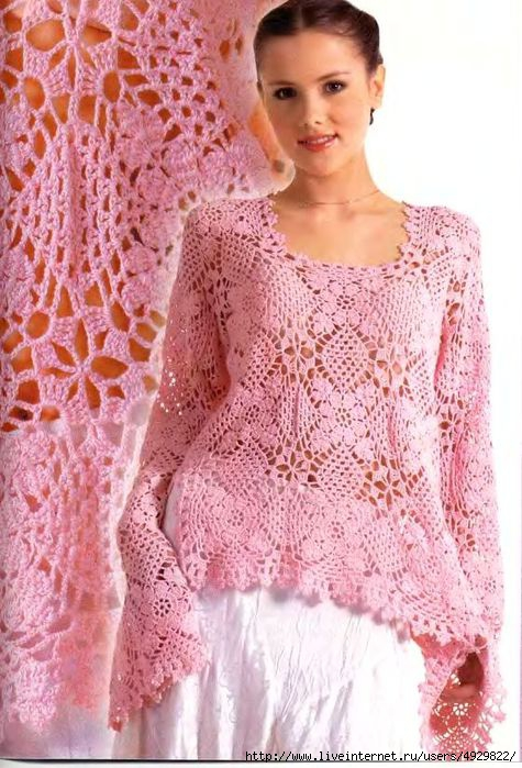 Розовая блузка из мотивов.