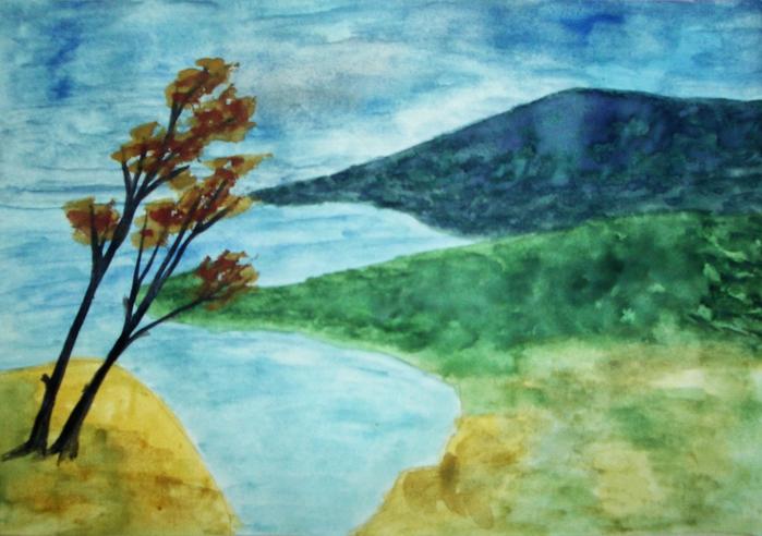 Поле, лето, перед грозой или осенний пейзаж, порывы ветра, срывают листву с деревьев