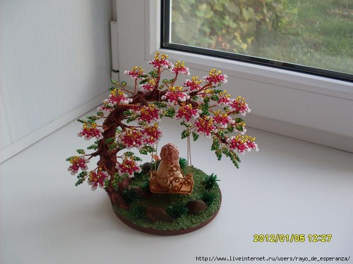 """Часть 1. Часть 2. Мои первые деревья из бисера.  Грелка для чайника  """"Курочка """".  Осенние пейзажи."""