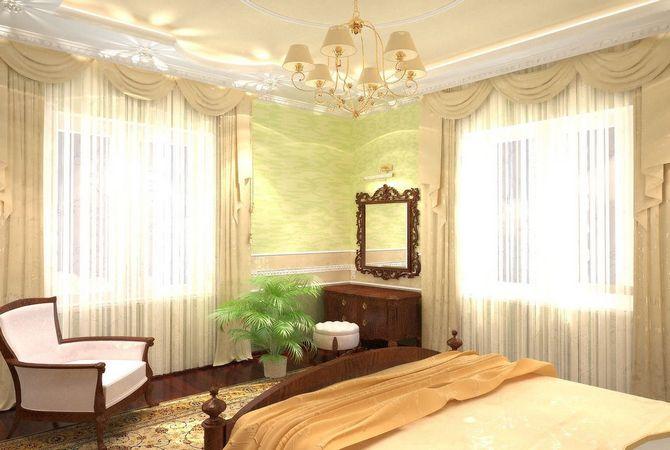 Дизайн комнаты с двумя окнами по разным стенам