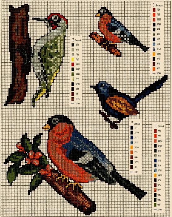 Схемы вышивок птицы stitchart