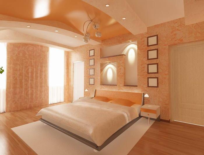 используя цвет и фактуру полотна на свой вкус. натяжные потолки в спальне.  Чтобы спальня выглядела просторной и...