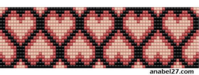 схема браслета из бисера ко дню святого валентина сердца сердечки бисероплетение ткачество.