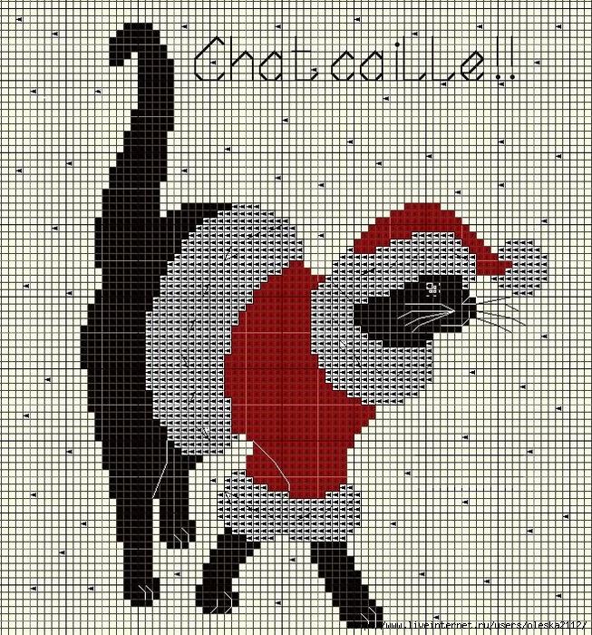 кошка дед мороз (653x700, 577Kb)