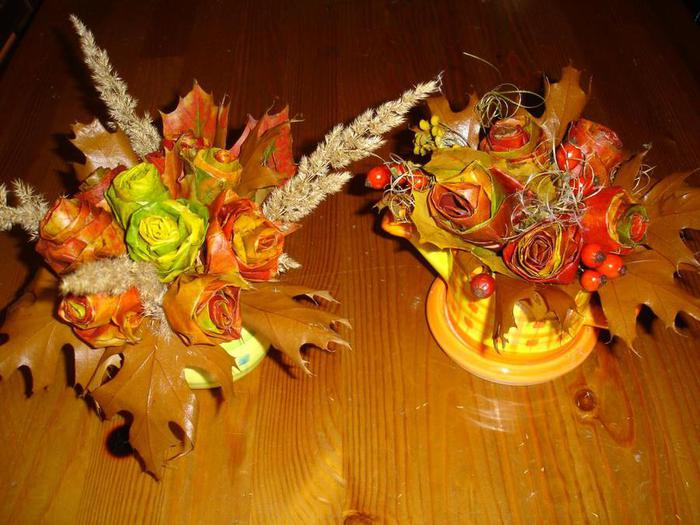 Осенние букеты своими руками листьями 860