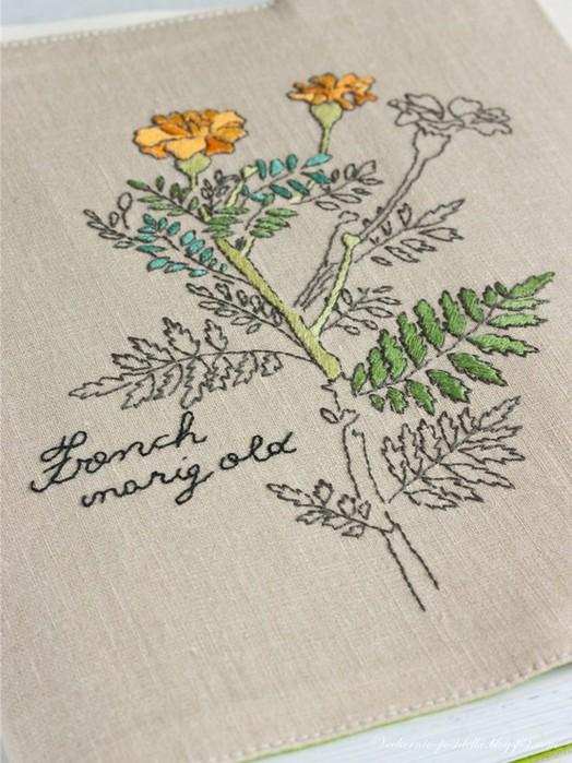 Вышивка цветов мулине гладью