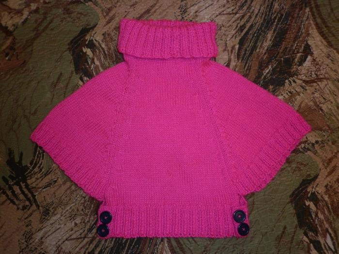 Вязание спицами пончо для девочек 3-5 лет 76