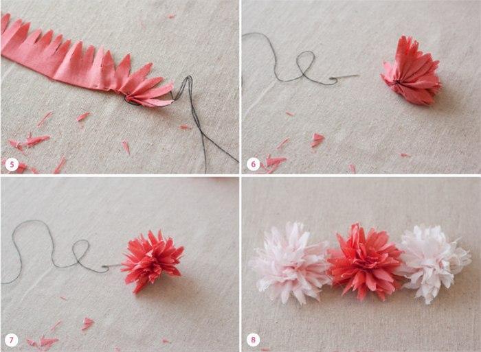 Сделать цветочки из ткани