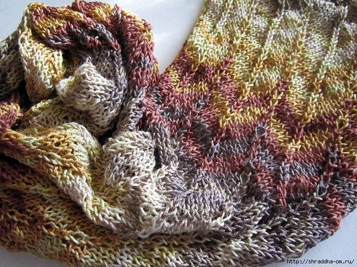 осенний ажурный шарф спицами, автор Shraddha, 1 (700x525, 462Kb)
