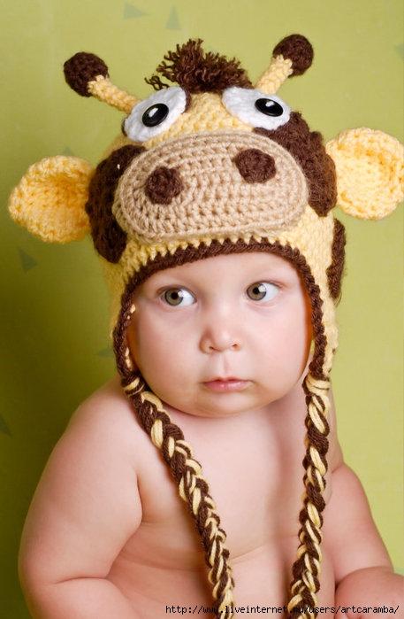 детская вязанная шапка/
