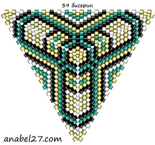 Схемы фигурных треугольников - мозаичное плетение.