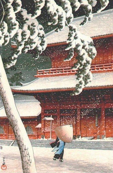 Snow at Zozoji Temple, Shiba (449x687, 105Kb)