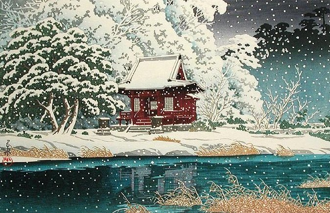 Snow at Benten Shrine, Inokashira (674x436, 138Kb)